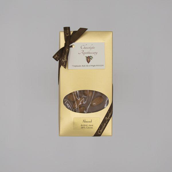 Handmade almond chocolate bar