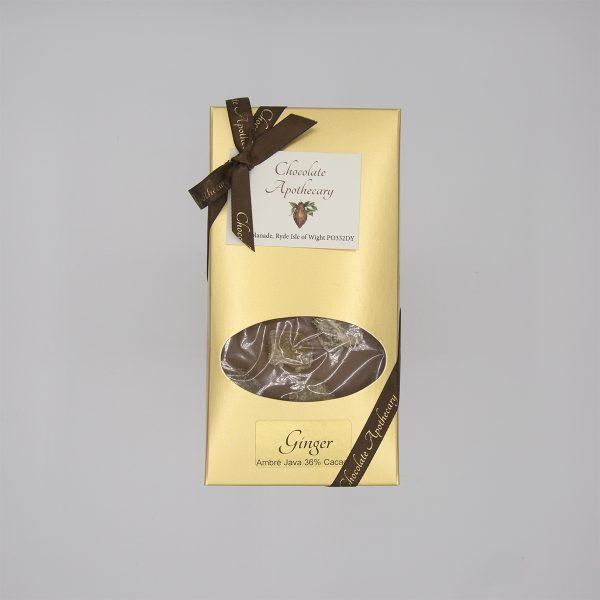 Handmade ginger chocolate bar